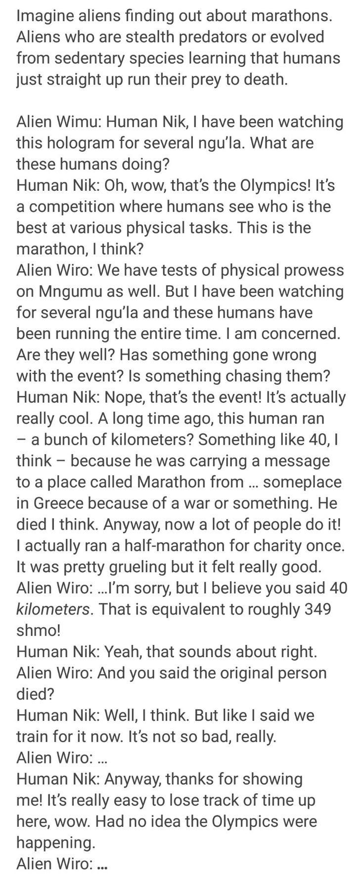 Humans are weird: Marathons