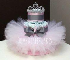 3 Tier Princess Diaper Cake 2 Styles Tutu by OhMyDiaperCakes