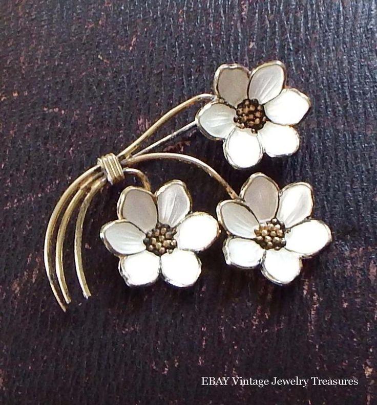 Vintage NORWAY Gold Wash Sterling Silver White Enamel Flower Pin Estate #Norway