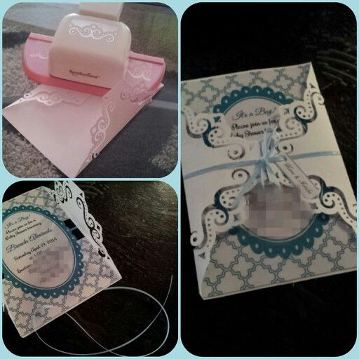 Diy Baby Shower Invitation Used White Contruction Paper