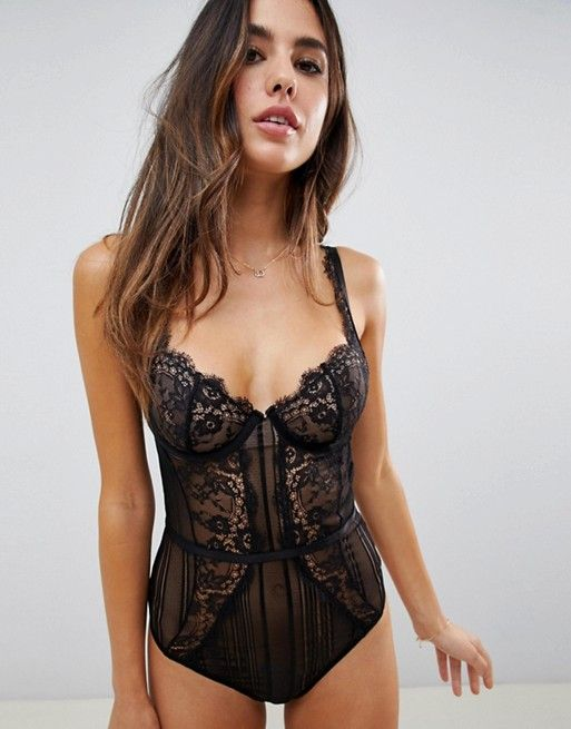 427e090e7ad6d DESIGN Morgan linear lace underwire bodysuit in 2019