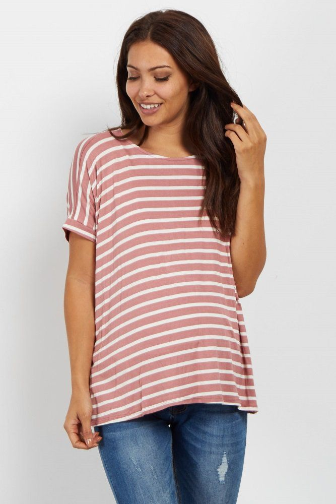 5a59e05d57765 Mauve Striped Dolman Sleeve Maternity Top A striped short sleeve maternity  top. Slit sides. Dolman sleeve. Rounded neckline. This style was created to  be ...