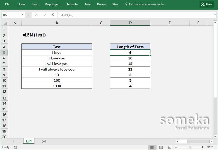 How to use Excel LEN function?