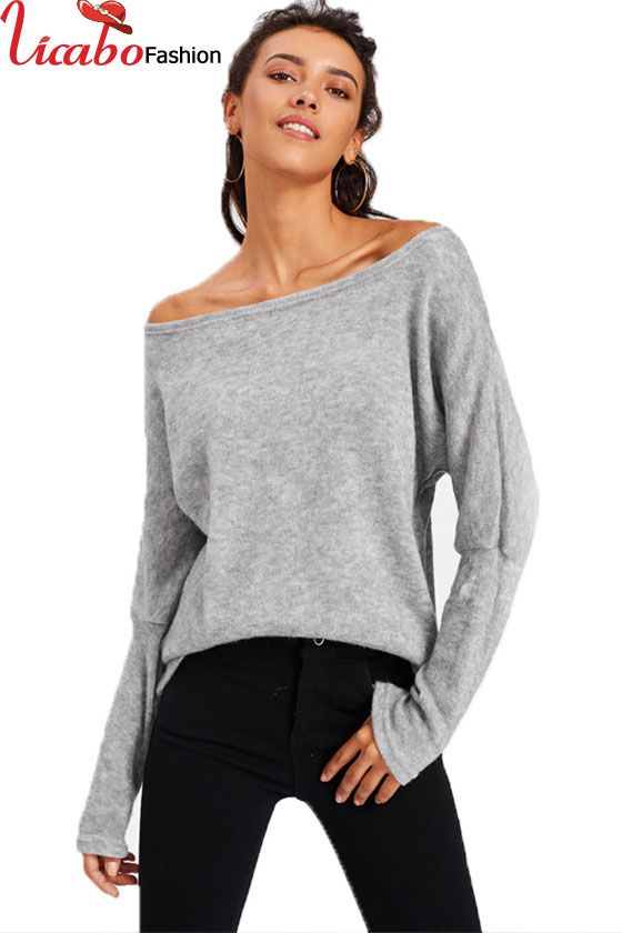 4800dc04cac73d Womens Off the Shoulder Casual Knit Jumper Ladies Oversized Baggy Sweater  Tops | Women Tops | Baggy sweaters, Batwing sleeve, Sleeves