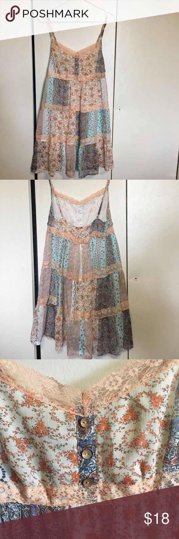 Free People style sun dress- great for festivals! this was made by Blue Bird.  Free People tagged for views.    this is a size medium dress, flowing style with beautiful pattern and colors.  perfect for summer time and music festivals!  previously loved but still in good condition! Free People Dresses