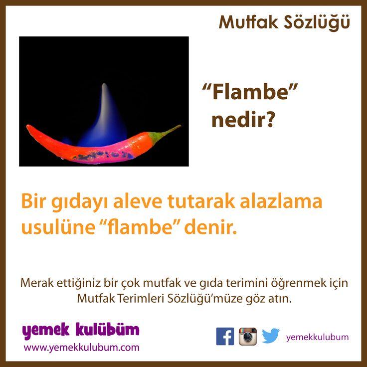 MUTFAK ve GIDA TERİMLERİ SÖZLÜĞÜ : Flambe Nedir?  http://yemekkulubum.com/kategori/mutfak-ve-gida-terimleri-sozlugu