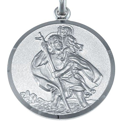 Large Sterling Silver St Christopher Pendant with 20
