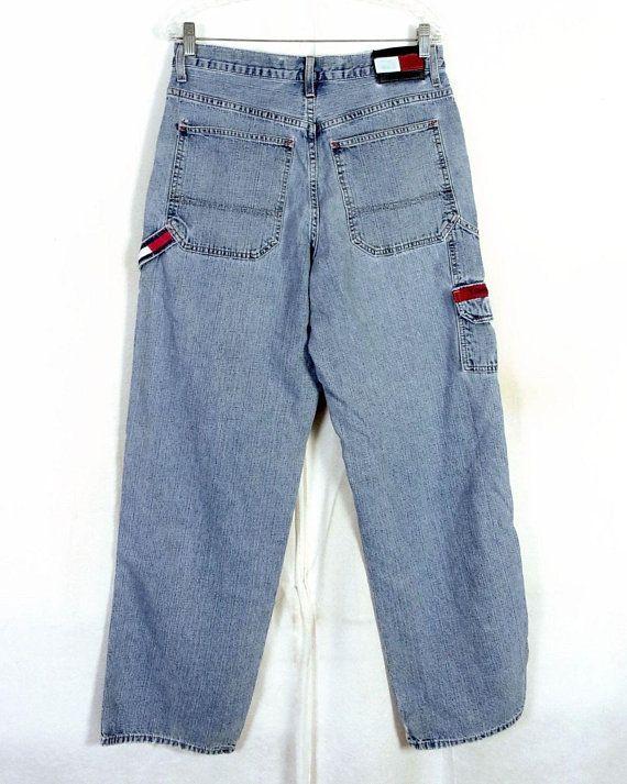 60c16662 vtg 90s Tommy Hilfiger Jeans Carpenter Hammer Loop Flag Logo Hip Hop Rap 32  X 34