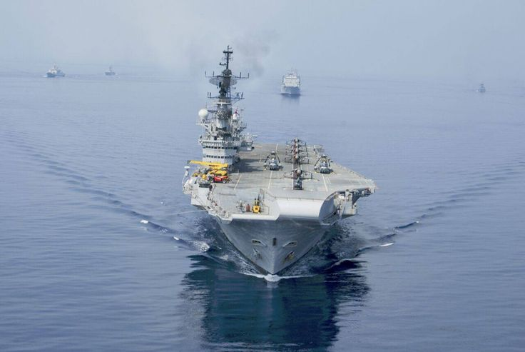 INS Viraat in all her splendourher aviation assets on deck - The Sea Harrier Seaking and Chetak.[1280X859]