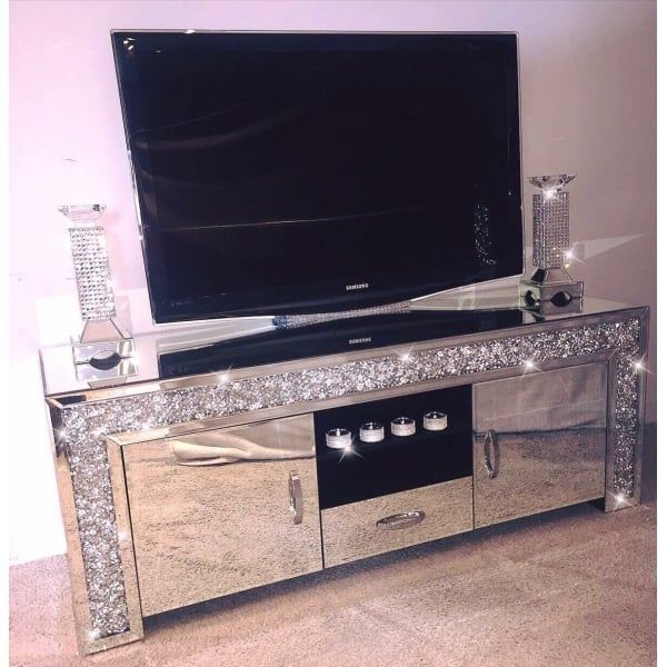 Crushed Diamonds Tv Unit 1 Drawer 2 Cabinets In 2020 Crushed