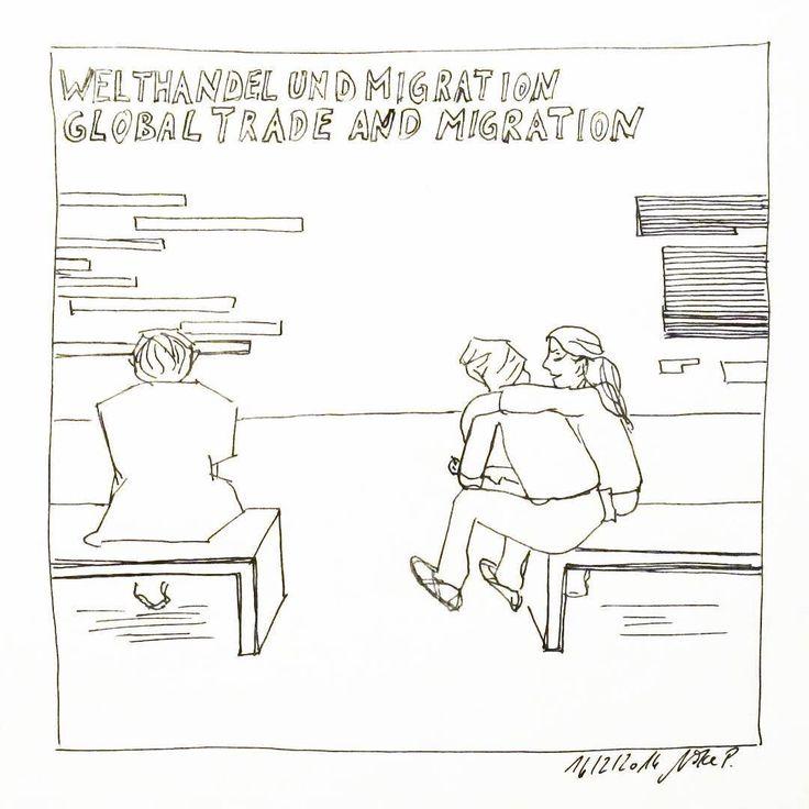 """""""Welthandel und Migration"""". Die letzten Tage war ich leider verhindert denn meine Eltern waren zu Besuch. Heute wurde wieder genüsslich gekritzelt. War auch nötig. #kritzelnzwosechzehn #sketchbook #hamburgerkunsthalle #migrationandtrade"""