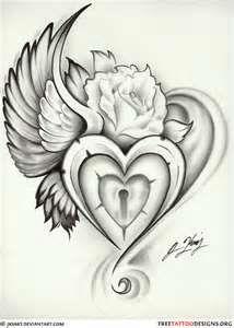 Winged Heart Lock Tattoojpg
