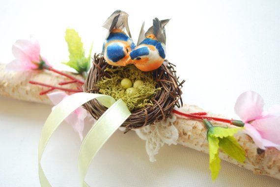 ninho de amor, festa de casamento, alternativa travesseiro portador de anel, pássaros do amor, ramo ramo de bétula, natureza, floresta casamento, anel de noivado portador