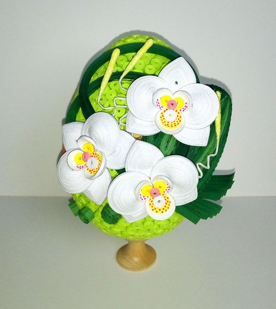 Quilled Easter egg with white orchid 3D Quilling by QuillingLife