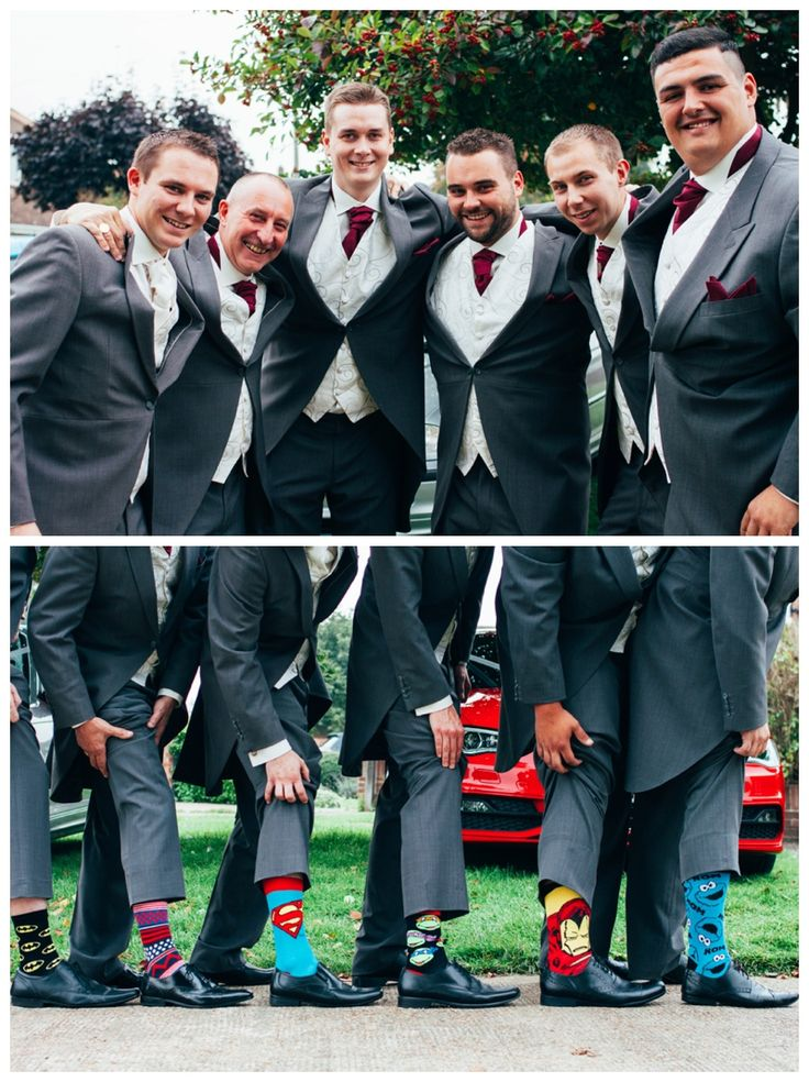 Groomsmen casual fun portrait with funny comical superhero socks