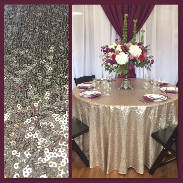 #wedding #reception #sequin #table #tablecloth #champagne #gold #flowers #floral #placesetting #tablescape #aubergine #backdrop