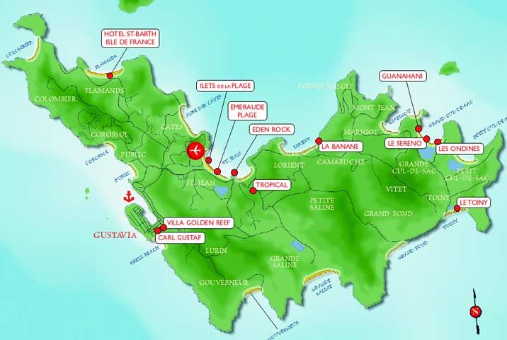 Map of st barts hotel locations caribbean bermuda maps for St barts in the caribbean