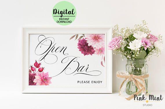 Open Bar Sign Wedding Sign Bar Sign Wedding Reception Sign