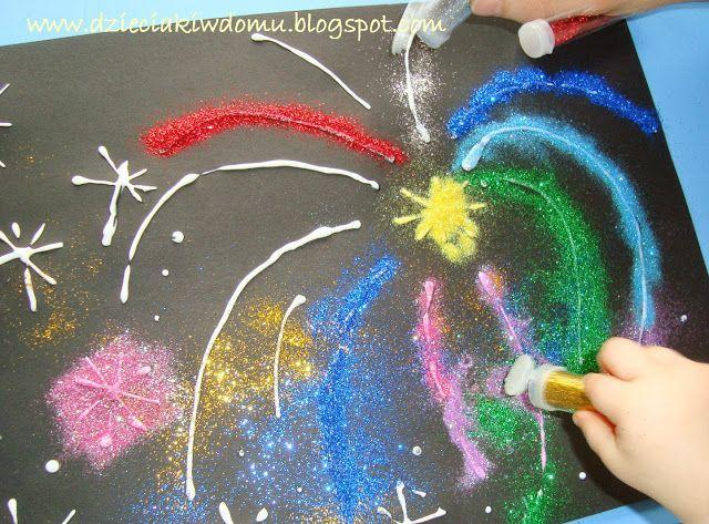 Brokatowe fajerwerki / glitter firework craft