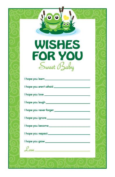 Instant Download Frog Theme Baby Shower Wishes by Studio20Designs