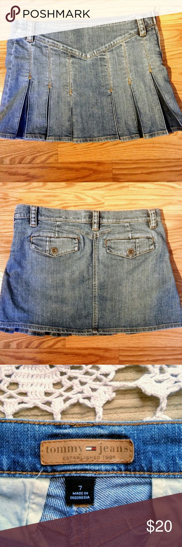 Tommy Hilfiger Denim Mini Skirt ~ 7 Classic old school pleated Jean mini skirt, gently worn with no tears, stains & all buttons/zippers are in tact, darker denim in pleats & Has a zipper and button on side. Please see pictures for details comes from a pet and smoke-free home Tommy Hilfiger Skirts Mini