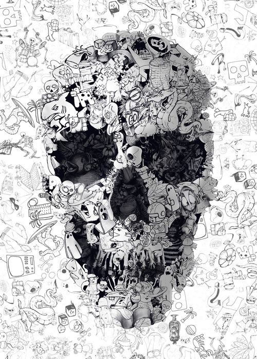 Doodle Skull BW
