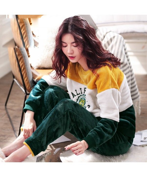 993936c6fee Women s Winter Thickened Flannel Long Sleeve Pajamas Autumn and Winter  Pajamas Suit
