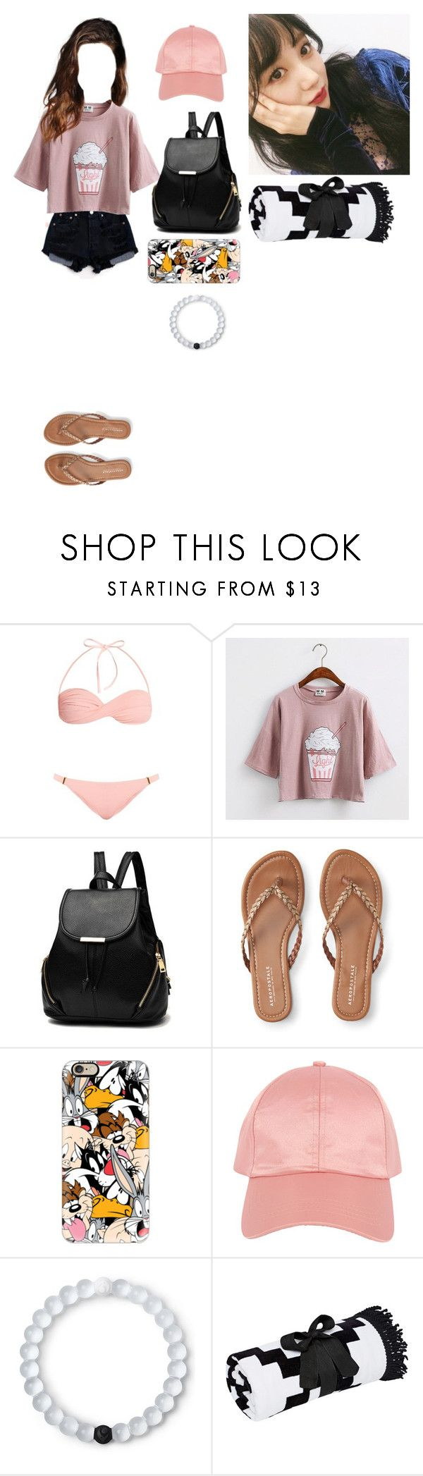 """""""☆Beach with trevor-Chaewon☆"""" by girl-gang-official ❤ liked on Polyvore featuring Melissa Odabash, Levi's, Aéropostale, Casetify, Armitage Avenue and Lokai"""