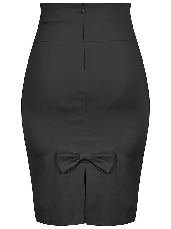 "Women's ""Bow Back"" Pencil Skirt by Double Trouble Apparel (Black)"