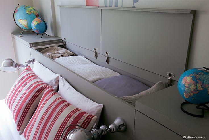 ins rer un rangement intelligent dans une t te de lit dccv rangement design deco diy. Black Bedroom Furniture Sets. Home Design Ideas
