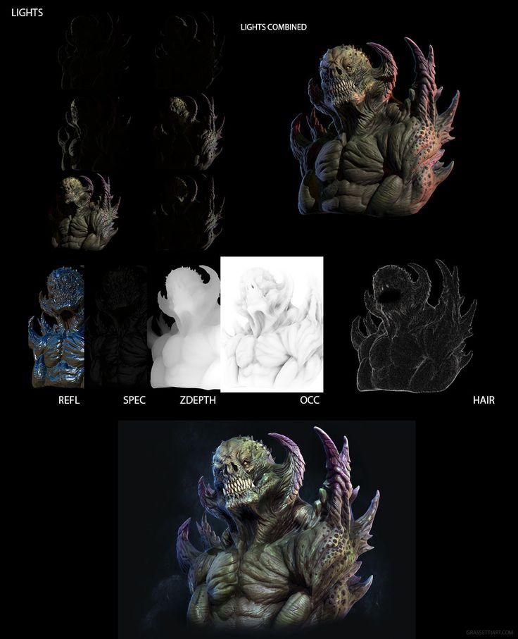 Raf Grassetti's zbrush render breakdown of Creature Sketch http://grassetti.wordpress.com/2012/11/19/creature/
