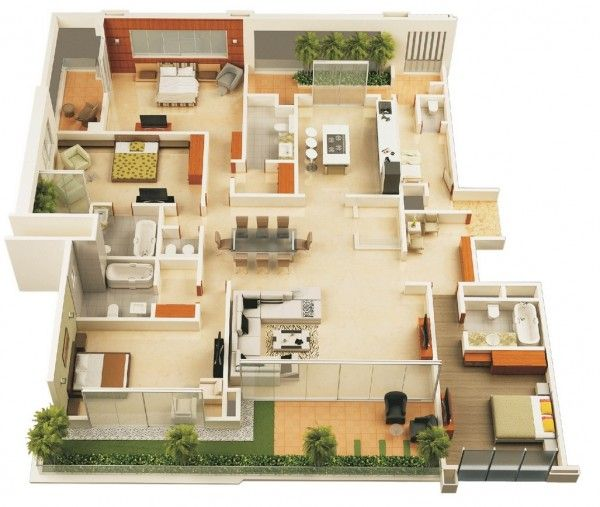 Home Design Ideas 3d: 4 Bedroom Apartment/House Plans