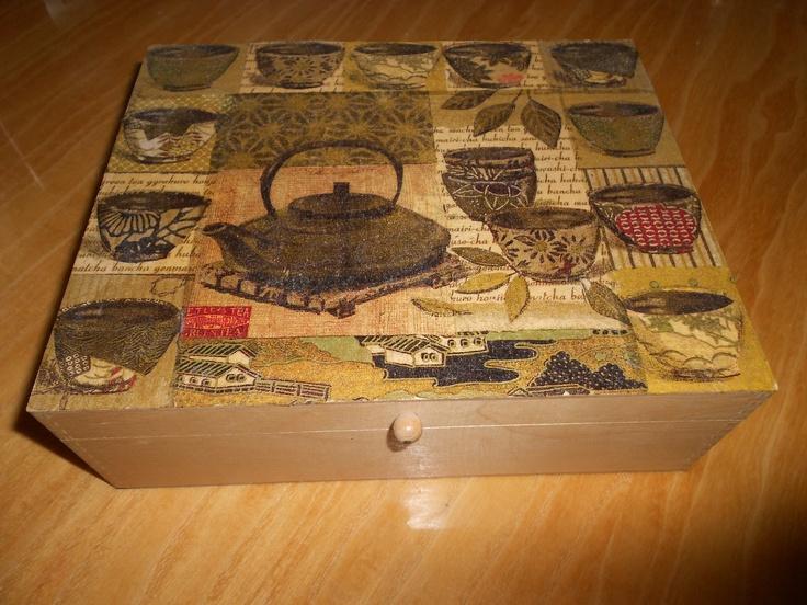Tea box with decoupage technique