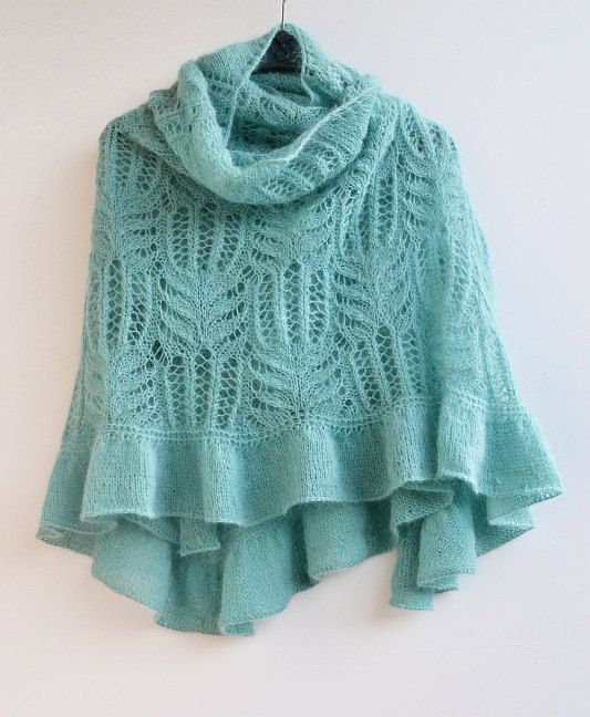 Pastel teal big  knitted shawl my inspiration by DosiakStyle