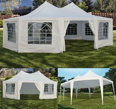 New White 29'x21' 22'x16' Decagonal Octagonal Gazebo Canopy Wedding Party Tent   eBay  same cost as renting $240