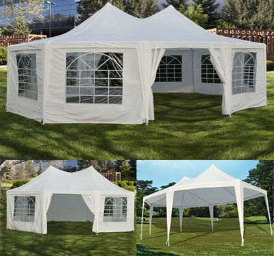 New White 29'x21' 22'x16' Decagonal Octagonal Gazebo Canopy Wedding Party Tent | eBay  same cost as renting $240