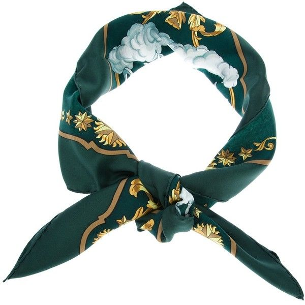 Hermes Vintage 'Cosmos' scarf (€375) ❤ liked on Polyvore featuring accessories, scarves, fillers, hats, multi colored scarves, green scarves, colorful scarves, silk shawl and green silk scarves