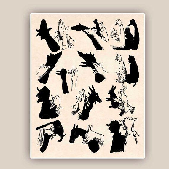 Schatten Marionette Grafik Shadow Handpuppen von PrintLand auf Etsy
