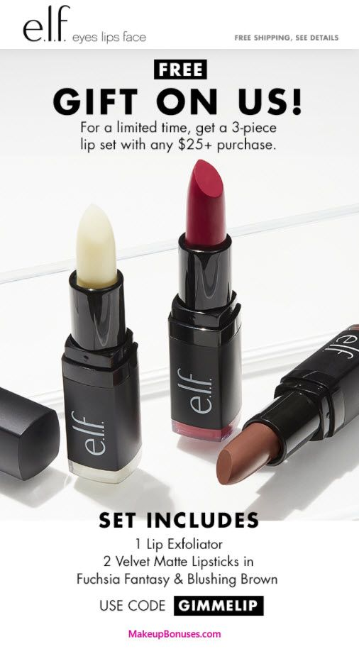 ELF Cosmetics 3-piece Free Bonus Gift with $25 Purchase & Promo Code GIMMELIP at ELF Cosmetics - details at MakeupBonuses.com #elfcosmetics #lips #free #beauty #GWP