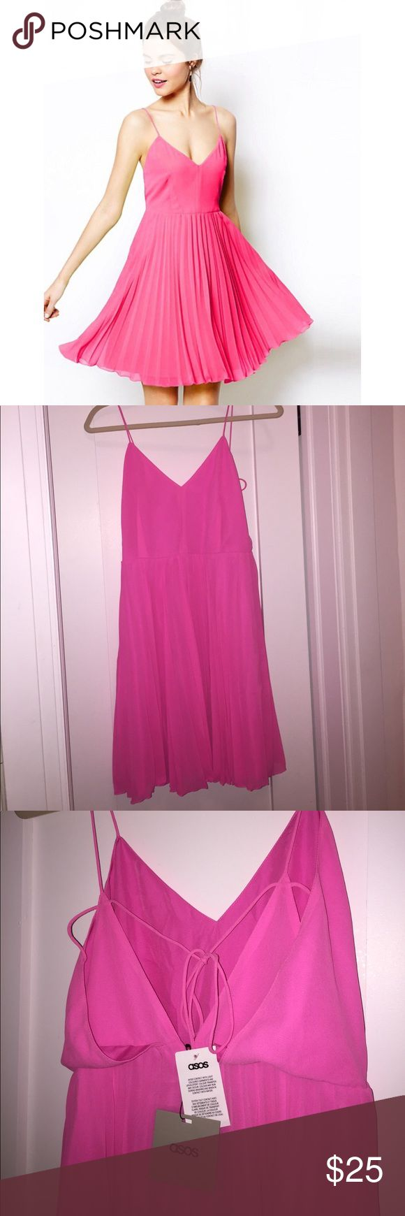 NWT! ASOS pink pleated mini dress NWT Bright pink pleated mini dress. This is the prettiest color and would be perfect for any upcoming vacations 🌴☀️ Back middle zipper, form fitting top and gorgeous flowy bottom (lined). Tie back (see photo for back design). US size 6/UK size. Fits TTS for Asos dresses, it'll be packaged in original Asos item bag. ASOS Dresses Mini