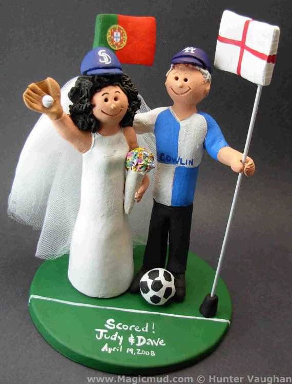 Wedding Cake Topper for Soccer fans      Soccer Wedding Cake Topper, custom created for you! Perfect for the marriage of a Soccer Playing Groom and his Bride!    $235   #magicmud   1 800 231 9814   www.magicmud.com