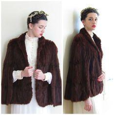 Vintage 1940 Ermine Fur Capelet / 40s Brown Fur Cape by Ralph Rupley by BasyaBerkman on