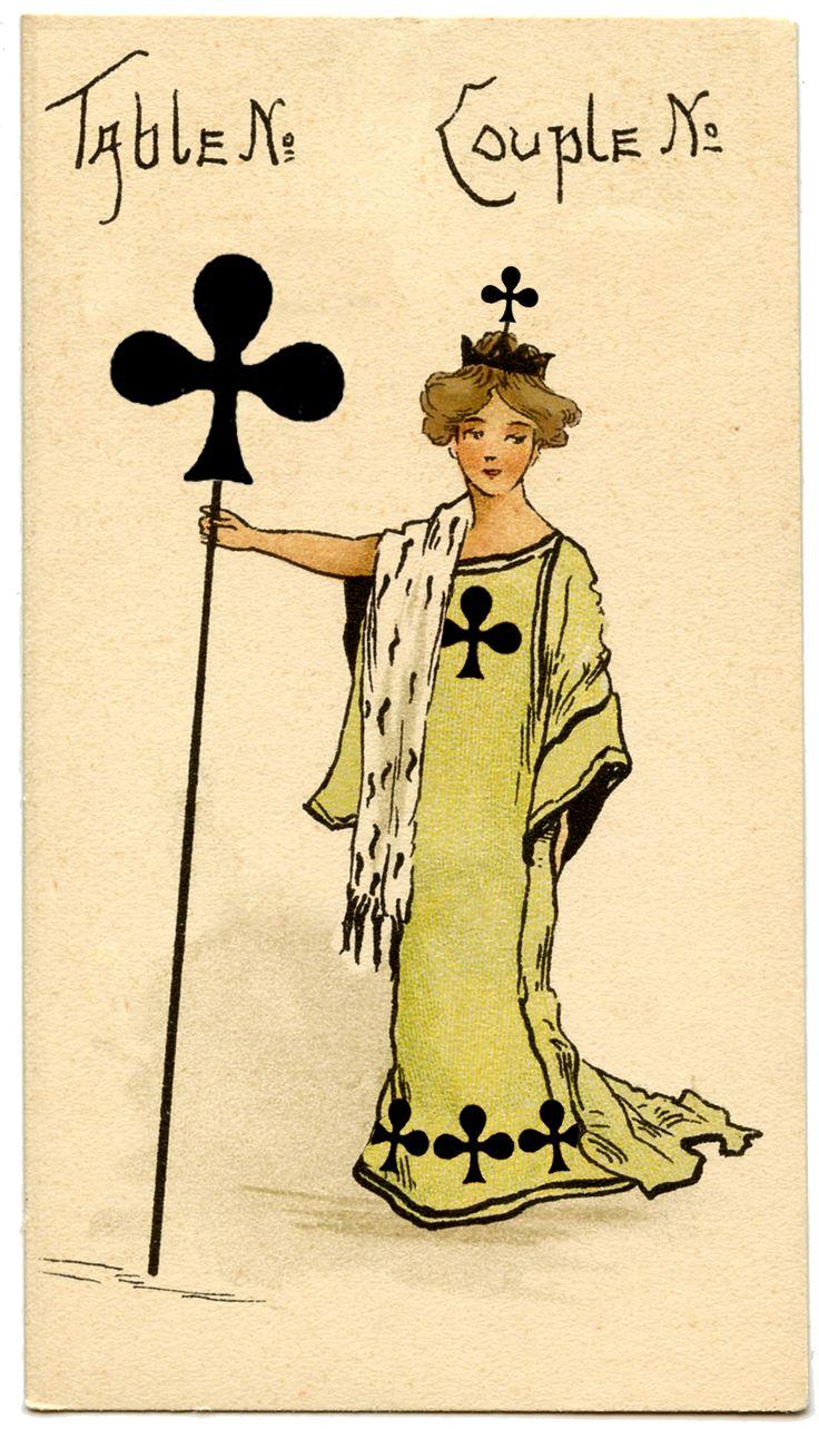 Clubs, Bridge card, early 1900's.