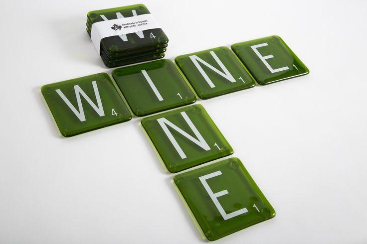 Wine Scrabble Coasters