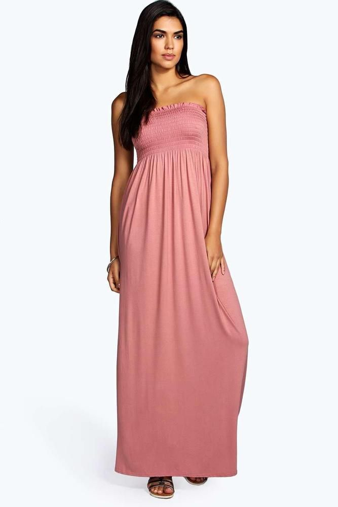 1bd10d1d99ce2 Boohoo Shelley Shirred Bandeau Maxi Dress Rose Size UK 14 rrp 12 DH170 EE  27 #fashion #clothing #shoes #accessories #womensclothing #dresses (ebay  link)