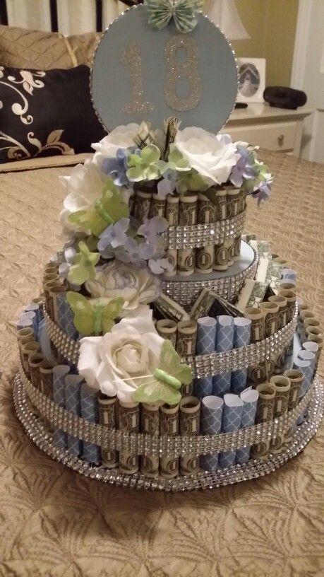 Money cake made with 100 dollar bills.