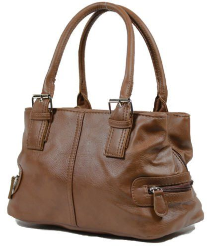 nice Ladies Leather Style Shoulder Handbag Zipped 3 Compartments Bag