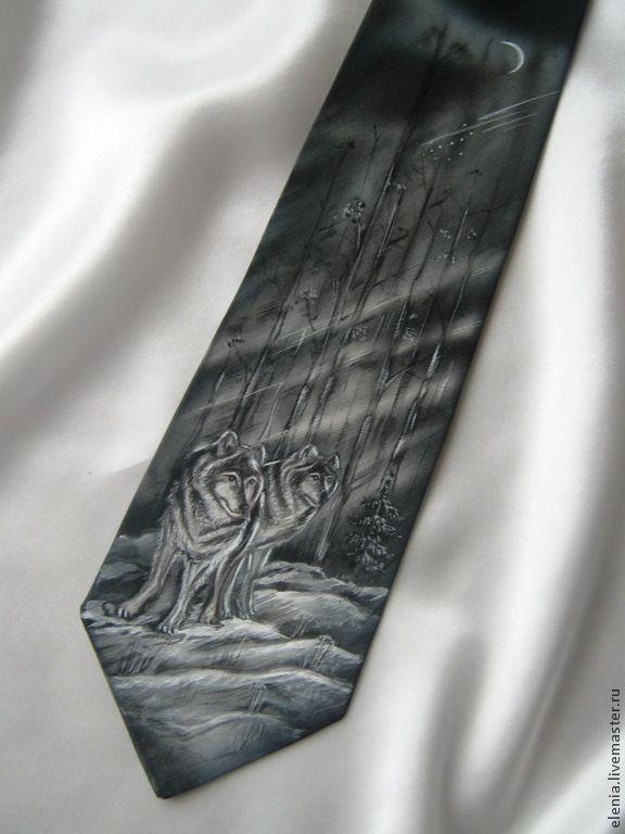 Купить Батик. Галстук. Двое... - галстук с росписью, галстук, мужской, двое, волк, зима, серый