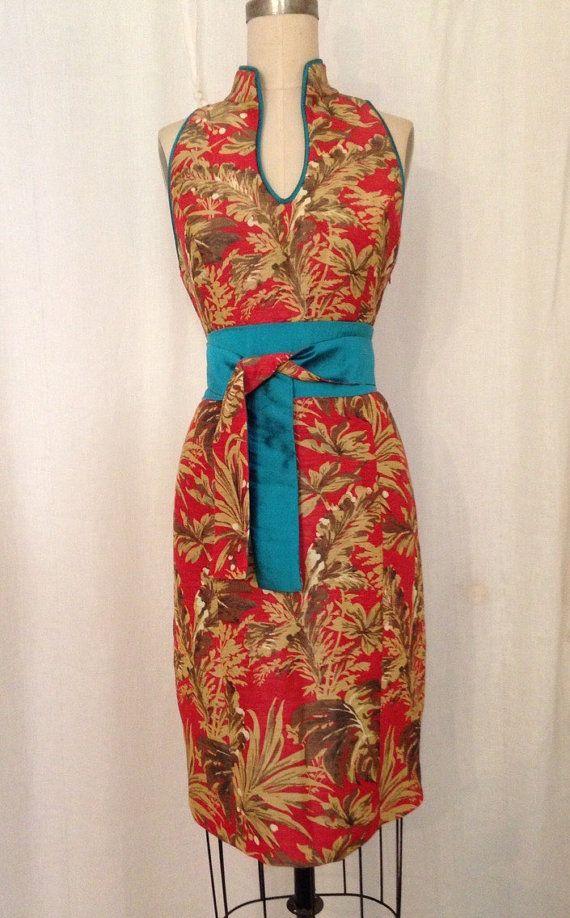 Vestido moderno impresión Tropical rojo Cheongsam