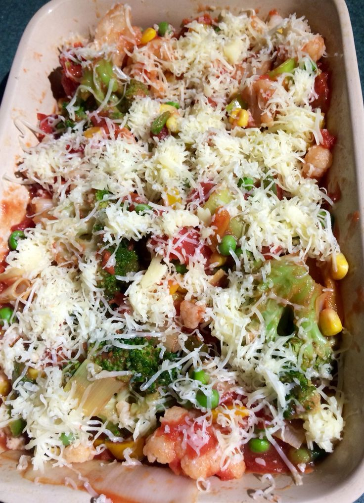Vegetable bake -slimming world friendly :  Cook broccoli , cauliflower , peppers, leeks, Sweetcorn pop in oven dish , pour over a tin of chopped tomatoes and sprinkle with cheese ( he-a) . Pop in oven for 20-30 minutes .  Contains lots of speed foods